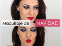 Maquillaje navideño en azules