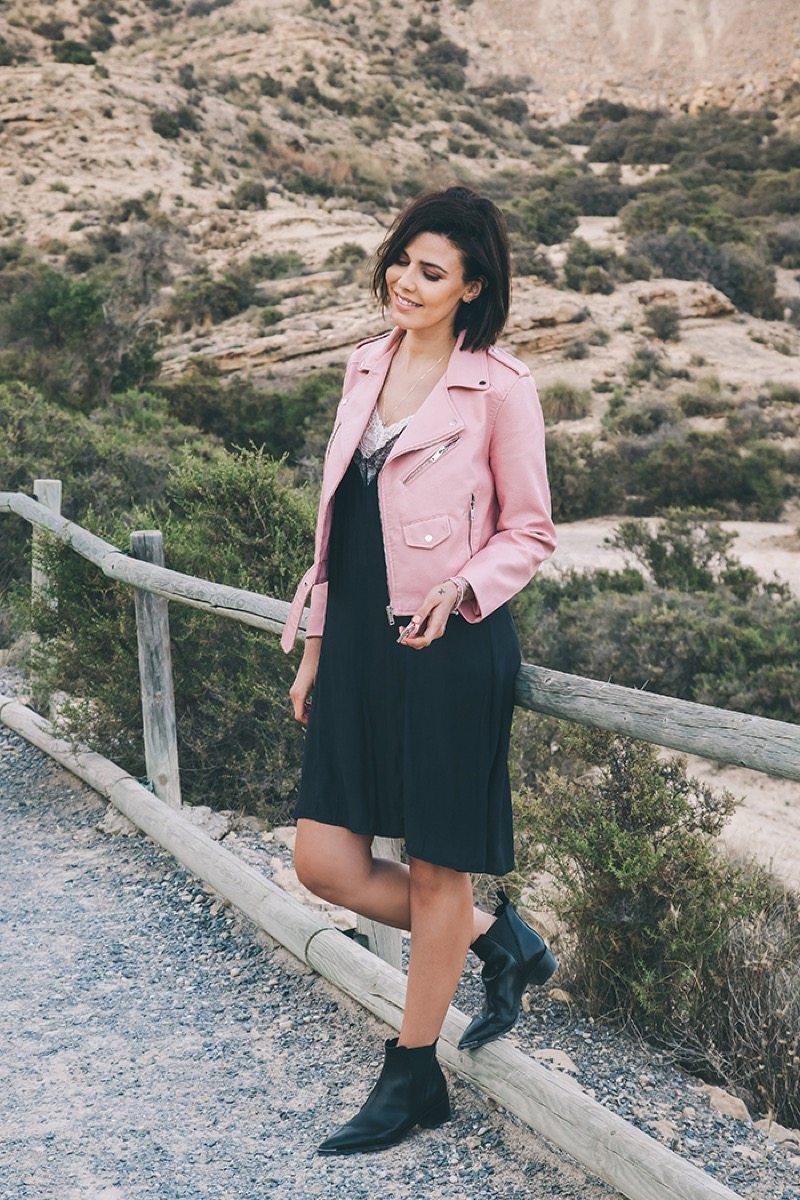 Biker rosa Zara outfit